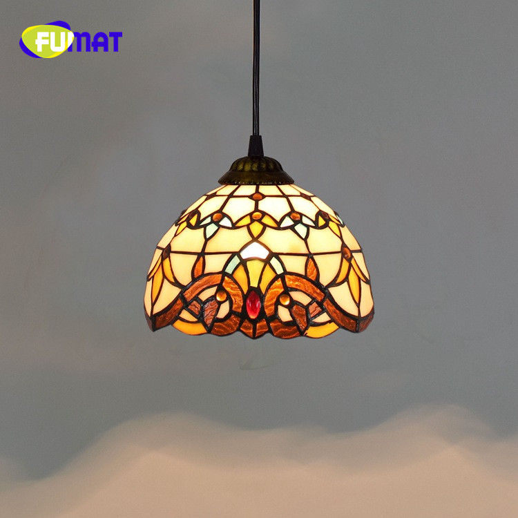 FUMAT Cord Pendant Tiffany Baroque Stained Glass Grape Sunflower Restaurant Balcony Aisle Corridor Soldering Glass Chandelier tiffany heart shaped baroque restaurant chandelier european retro stained glass lamp bar entrance corridor balcony pendant lamp