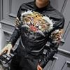 Mens Designer Shirts 2017 New Long Sleeve Mens Luxury Gold Shirt Camisa Slim Fit Tiger Print