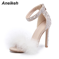Aneikeh Feather Crystal High Heel Sandals Fancy Glittering Crystal Ankle Wrap Stiletto Heel Dress Sandals Wedding Shoes Apricot