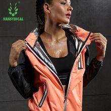 Vansydical Горячие Пот куртки для бега на молнии фитнес тренажерный зал топы для женщин с капюшоном открытый тренировочные толстовки