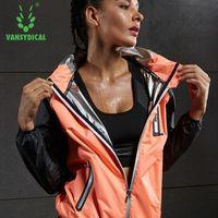 Vansydical Hot Sweat Running Jackets Zipper Fitness Gym Tops Women Hooded Outdoor Training Sweatshirts