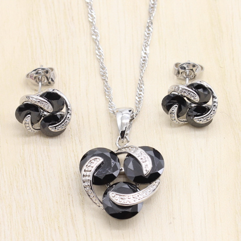 925 Sterling Silver Women Wedding Jewelry Sets Clover Shaped Cubic Zirconia Earrings Pendant Necklace Jewelry