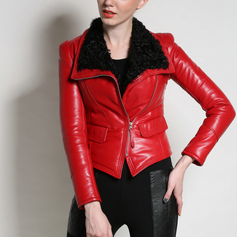 Women Genuine Coat New Luxury Autumn Winter Fur soft real Leather Jackets Lady Sheepskin Motorcycle Red Black Coat Outerwear