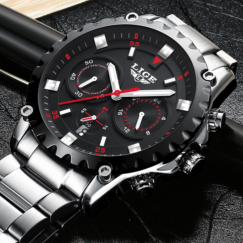 New LIGE Watch Men Waterproof Sport Quartz Clock Mens Watches Top Brand Luxury Full Steel Business Wristwatch relogio masculino relogio masculino lige men watches top brand luxury fashion business quartz watch men sport full steel waterproof wristwatch man