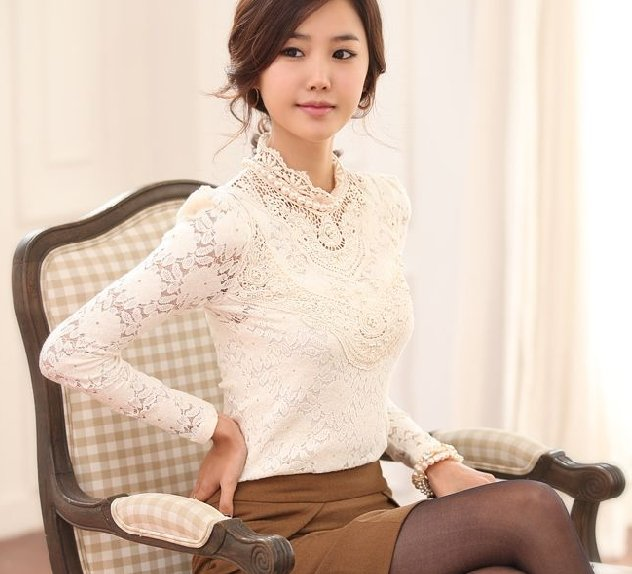 84cb68c1b558c 100% warranty high neck knitted office long sleeve blouses tops 2015  fashion white lace shirt women tops plus size M-XXXXL