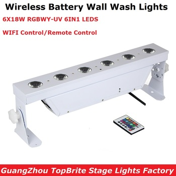 WIFI/Remote Control White Housing Battery Bar Lights 6X18W 6IN1 Wireless LED Wash Wall Lights Special Effect RGBWY UV Colors wireless dmx battery power rgbwy uv 6in1 led par can light with wifi