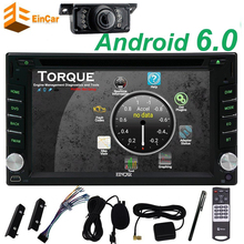 Car PC DVD Player Android 6.0 two 2Din Car PC Stereo Auto Radio Player Wifi supports 3G/4G Mic OBD2+Backup Camera car styling
