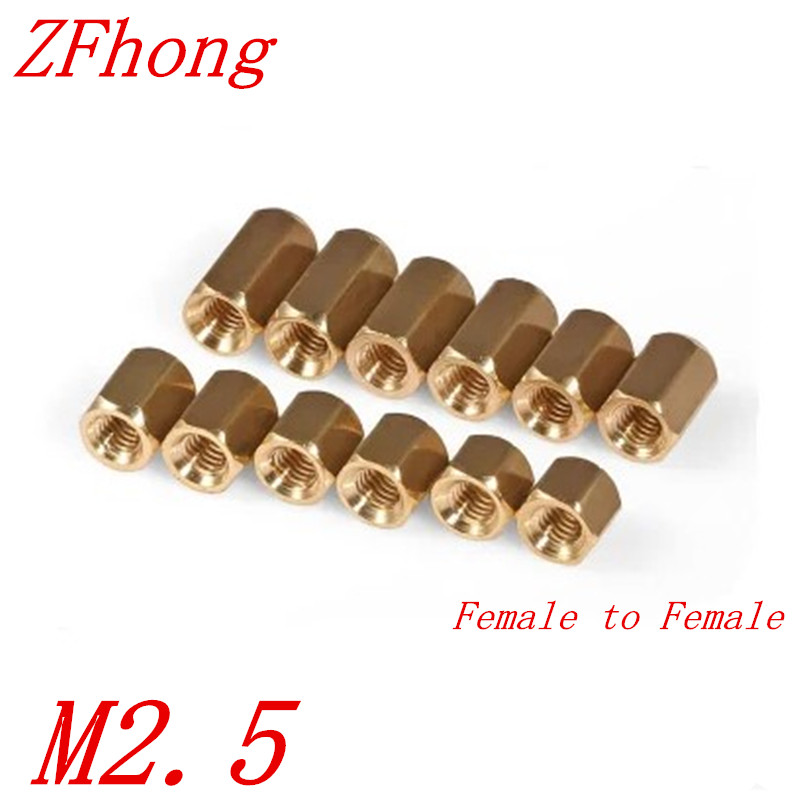100pcs m2.5  brass spacer M2.5 x 5/6/7/8/10/11/12/14/15/16/18/20/25 Female To Female Brass Hex Standoff 100pcs m3 nylon black standoff m3 5 6 8 10 12 15 18 20 25 30 35 40 6 male to female nylon spacer spacing screws