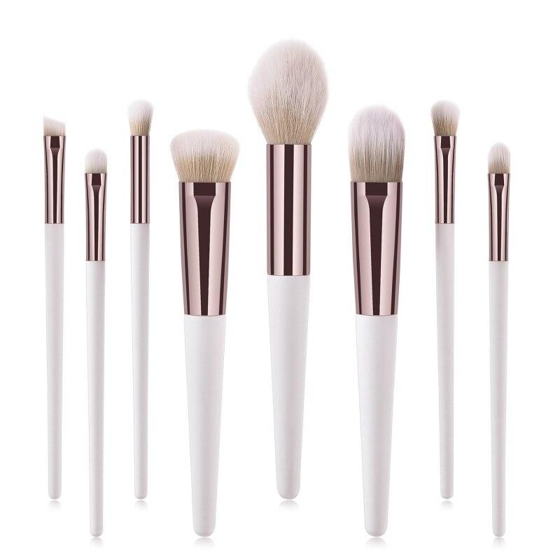 New Premium Makeup Brush 8pcs Set Foundation Blending Blush Concealer Eye Shadow Synthetic Fiber Bristles Kit Gold Fast shipping