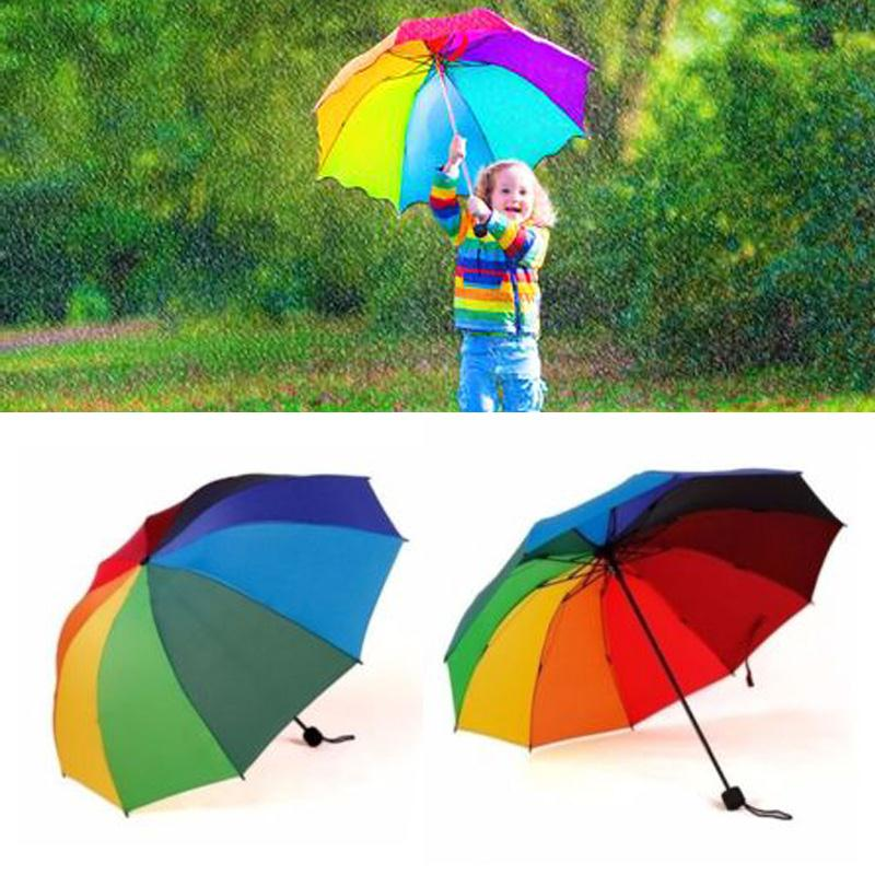 Rainbow Fold Umbrella Women and Men Non automatic Umbrella Popular Creative Three Folding Adults Children Umbrella