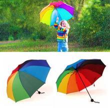Радуга сложить зонтик Для женщин и Для мужчин-Автоматический Зонт Популярные творческие три складной взрослые дети зонтик