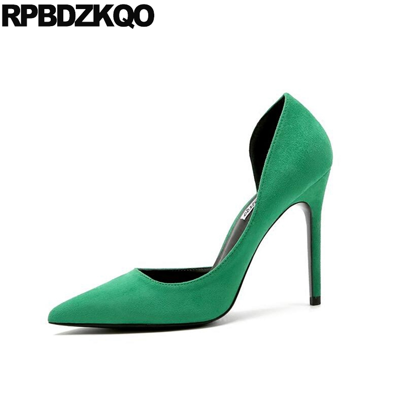 Sandals La S Pumps Green High Heels Shoes Big Size 3 Inch Pointed Toe Elegant 33 European Scarpin Suede  Spring