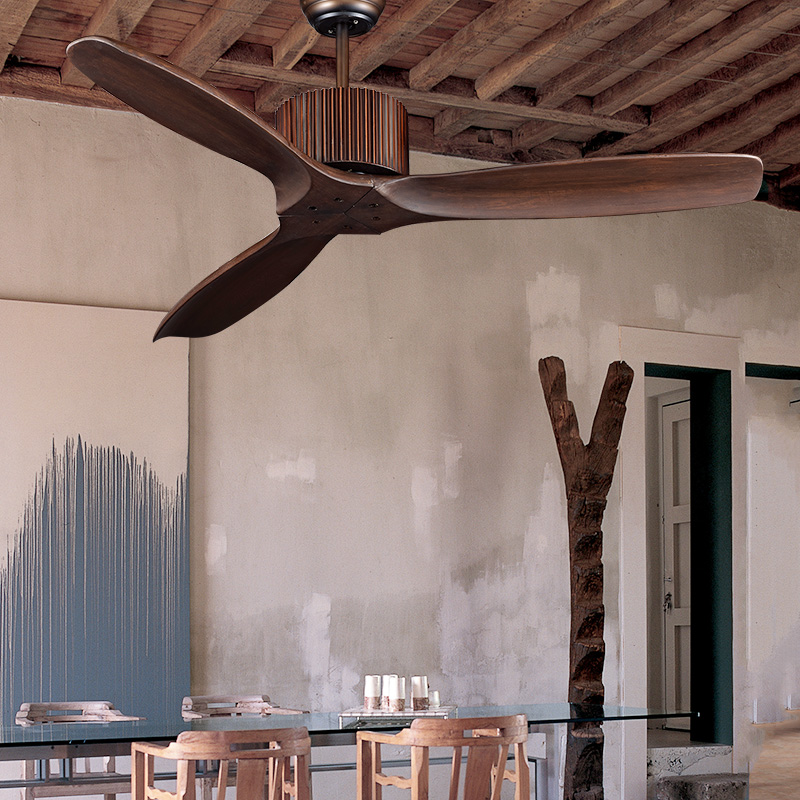 Retro ceiling fan restaurant living room without lights American antique unlit fan lights mute Nordic minimalist home wood