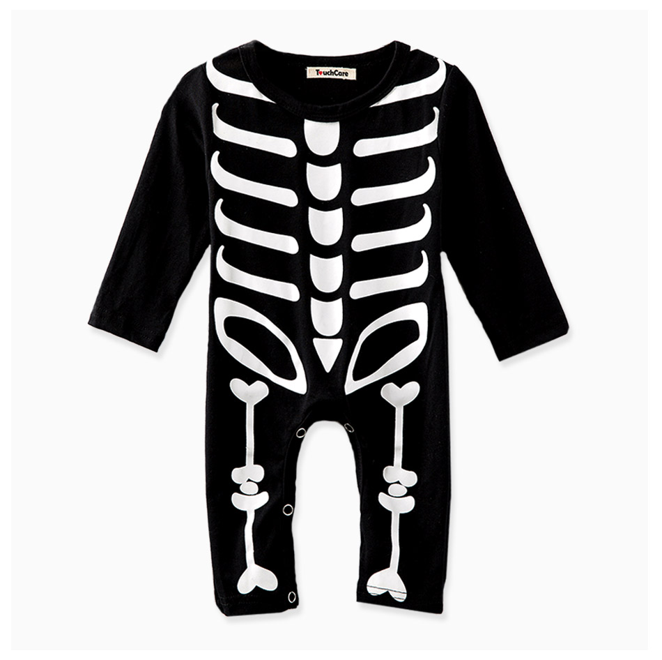 Touchcare Newborn Baby Boy Girl Rompers Skeleton Print Black Color Baby Clothes Long Sleeve Infant Jumpsuit Baby Sliders Romper 12