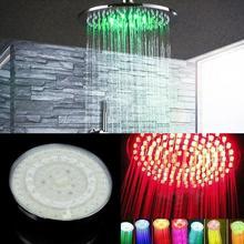 Круглый ABS чувствительный к температурам светодиодный душ с дождевой насадкой поток воды 7 Изменение цвета 20*20*5 см хромированная отделка