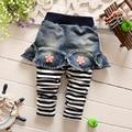 2017 весна Осень Корейских детей Поддельные два основывая брюки брюки в полоску девушки джинсы детская одежда 0-3.5 лет 307