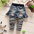 2017 spring Fall Korean children Fake two bottoming culottes pants striped flower girls jeans children clothing 0-3.5 years 307