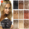 Human Hair Clip Ins 70g 100g 120g Clip in Human Hair Extensions Straight  P18/613 Black Crochet Blonde Color 14''-24'' Straight