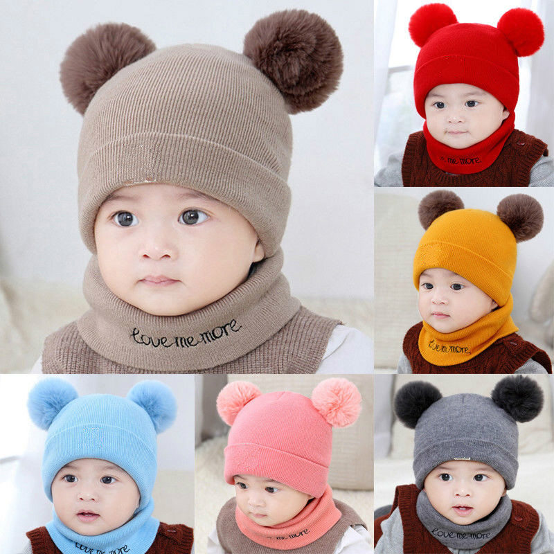 Winter Warm Children Hats Set Kid Double Fur Pom Pom Beanie Wool Knitted Hat For Baby Boys Girls Toddler Crochet Beanies Scarves