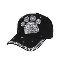 2ab9b717843 2018 Women Hat Cap Men Casual Baseball Cap Rhinestone Paw Shaped Boy Girls  Snapback Hat Summer
