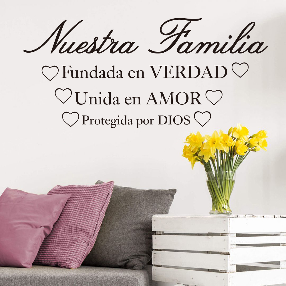 Spanish Our Family Truth Joined in love Kept by god Bible Verse Spain Quote  Wall Decal Sticker Spain Quote Vinyl Bedroom