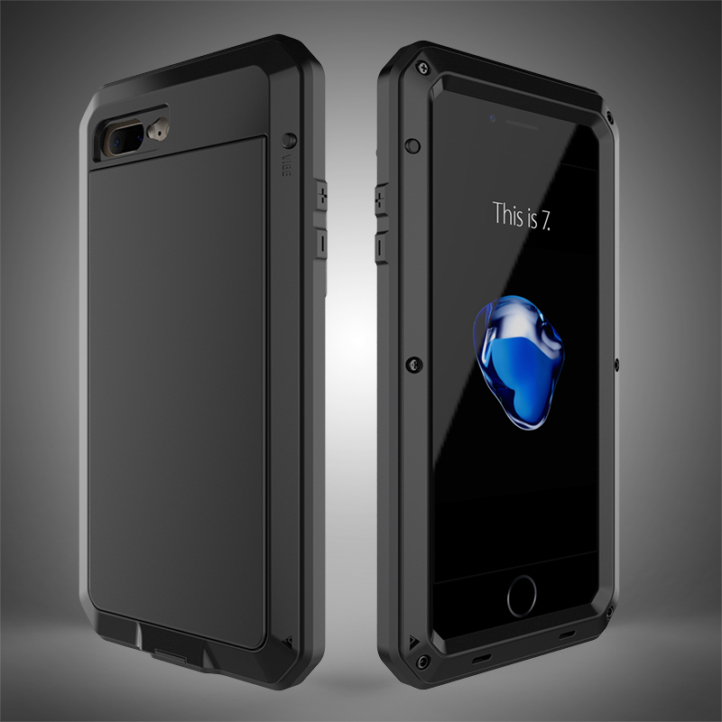 Luxury Doom for iphone7 7Plus heavy duty Waterproof Shockproof Case Glass Metal Full Body Case for iphone 7 Plus Aluminum Cover