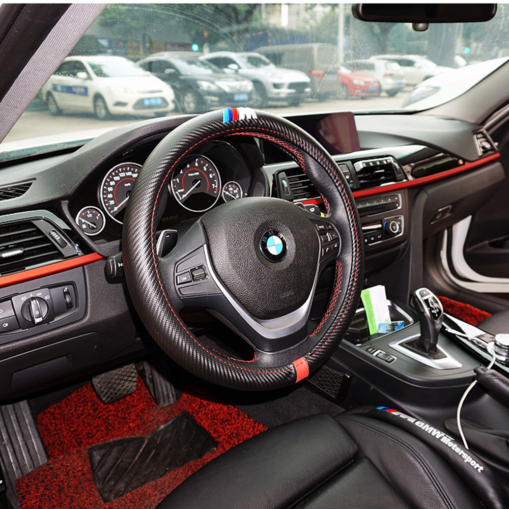 Car-Styling ///M Carbon Fiber Leather PU Steering Wheel Cover For BMW X1 X2 X3 X4 X5 X6 M1 M2 M3 M4 M5 M6 M7 Series