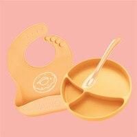 Children's Silicone bowl Sucker Bowl children plate baby silicone plate baby feeding dish