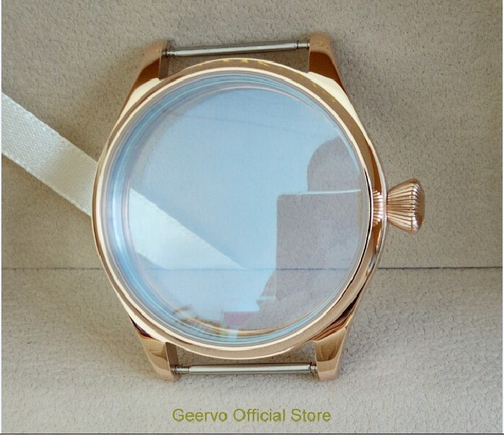 44mm 316L Stainless steel watch cases electroplated 18K rose gold fit ETA 6497 6498 movement the