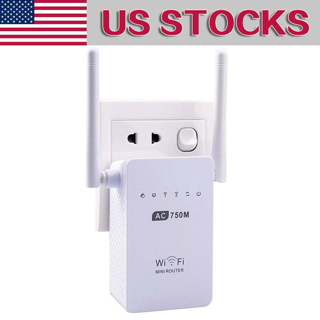 750Mbps Antenna Wifi Repeater Wireless Range Extender 802.11N Booster Signal Amplifier wlan US plug Wifi Signa Extend Amplifier