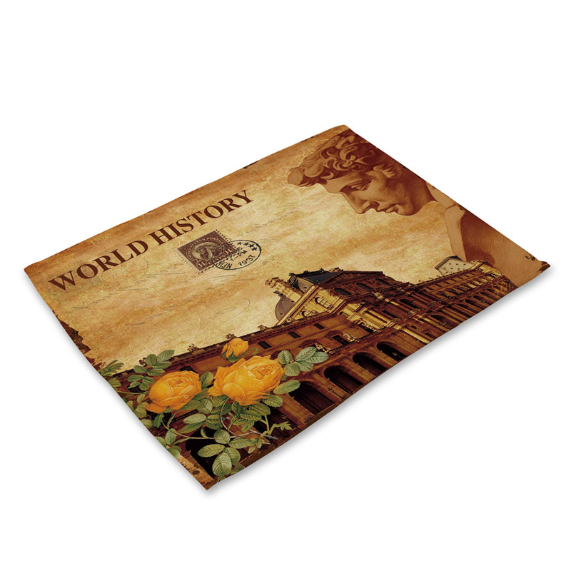 Europe Kitchen Dinner Table Mats Cotton Linen Table Napkin Classical Character Pattern Decorative Placemats Coaster Wine Mat