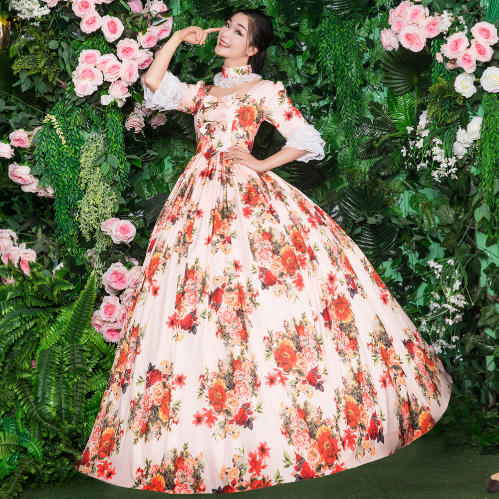 18th Print Princes Elegant Dress Embroidery Dress 1/2 Full Sleeve Theater Dress Flower Ball Gown Victorian Dress - 5