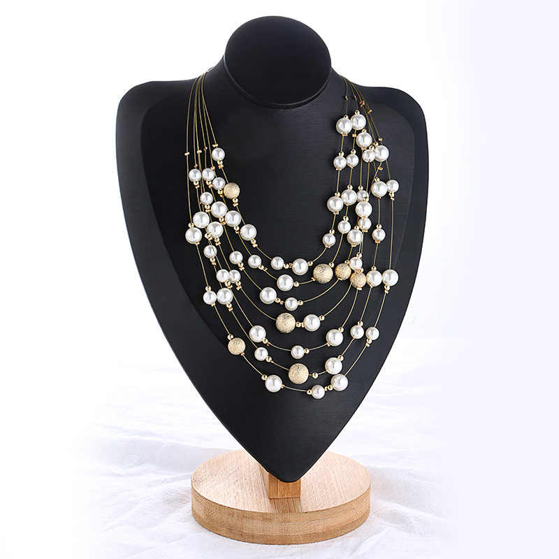 Find Me 2019 new Fashion multilayer chain collar Choker Necklace Pendants Imitation pearl Maxi statement Necklace Women Jewelry