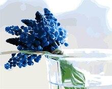 Jakaranda flores azul imagen Pintura Al Óleo Por Números Dibujo para colorear por números DIY dibujo salón cocina decoración