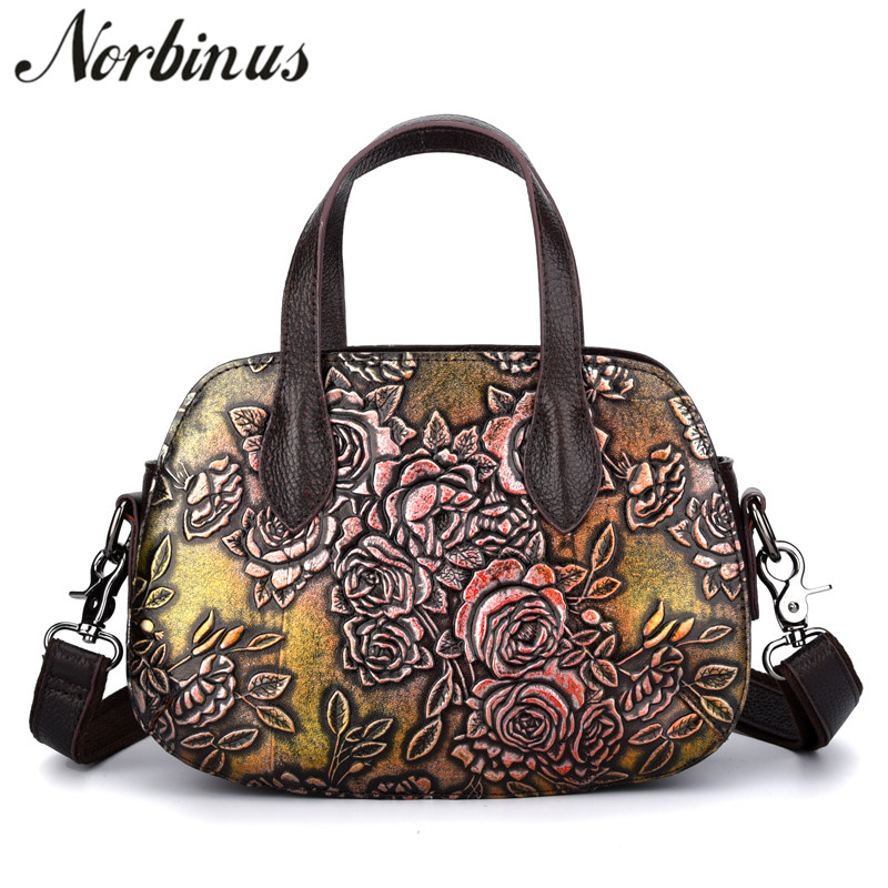 Norbinu Embossed Genuine Leather Women Handbag Messenger Shoulder Bags Vintage Top Handle Bag Tote Female Luxury Crossbody Bags women bags 2017 original design vintage top handle genuine leather rivets satchel shoulder crossbody handbag big tote