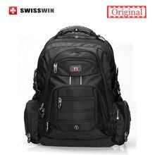 Swisswin 17 zoll männer laptop rucksack wasserdichte nylon notebook tasche hohe qualität 37l große reisetasche rucksack sw9801 schwarz