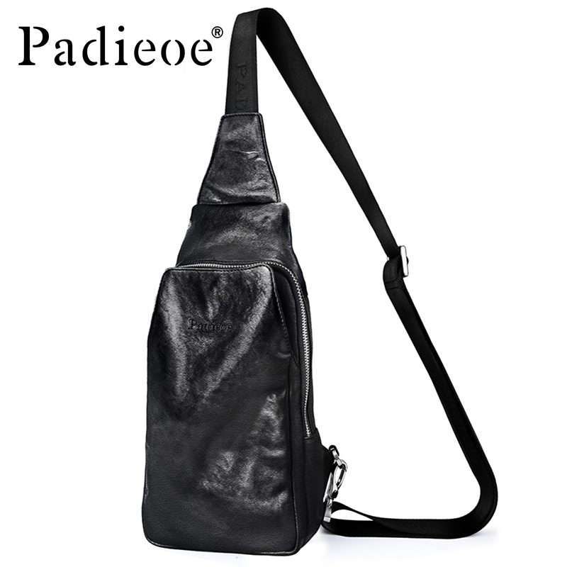 Padieoe Luxury Brand Genuine Cow Leather Chest Bag 2017 New Arrival Fashion Men Sling Bag Casual Shoulder Messenger Bag Handbag