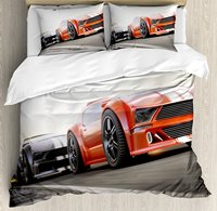 Duvet Cover Set, Sports Car Competing on Highway One Chasing Another Team Champion Win Image, 4 Piece Bedding Set