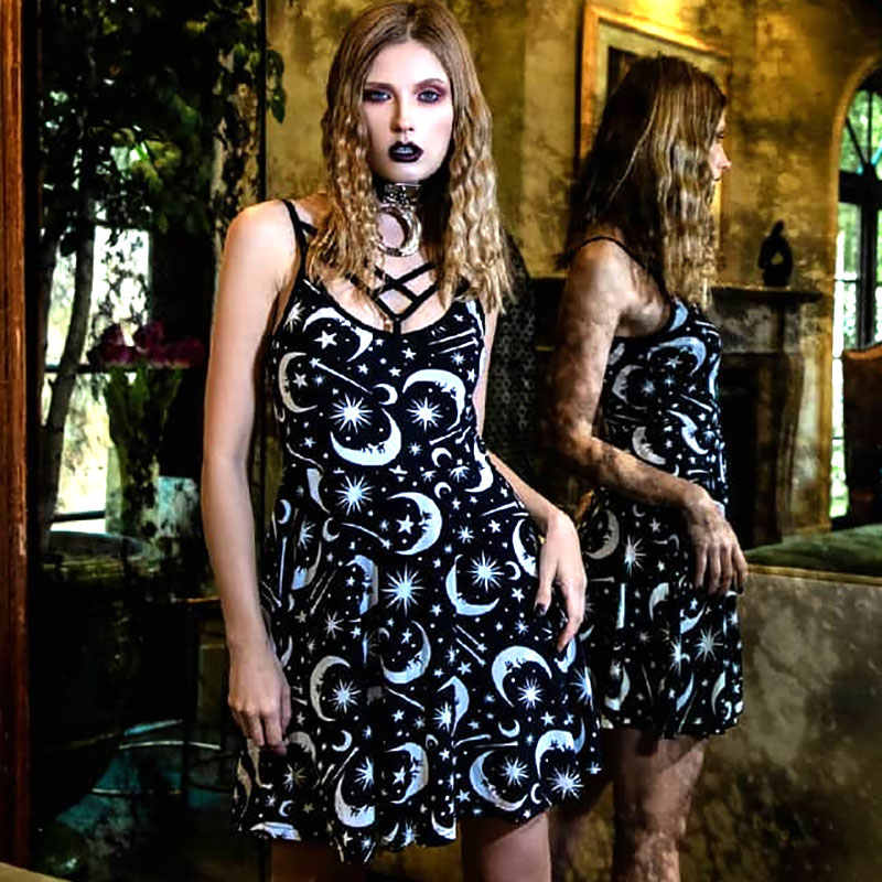 Women  Gothic Black Dresses Hollow Out Sexy Sleeveless Backless Moon Print Pleat Dress Gothic Punk Street Dark Party Mini Dress