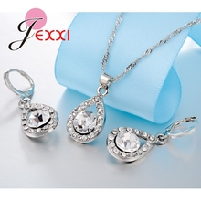Bridal Best Gifts 925 Sterling Silver Wedding Anniversary Jewelry Sets CZ Crystal Water Drop Necklace + Earrings Set