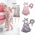 2pcs Set ! Baby Infant Girls Sleeveless Belt Halter Rompers Dress Backless Floral Jumpsuit+headband