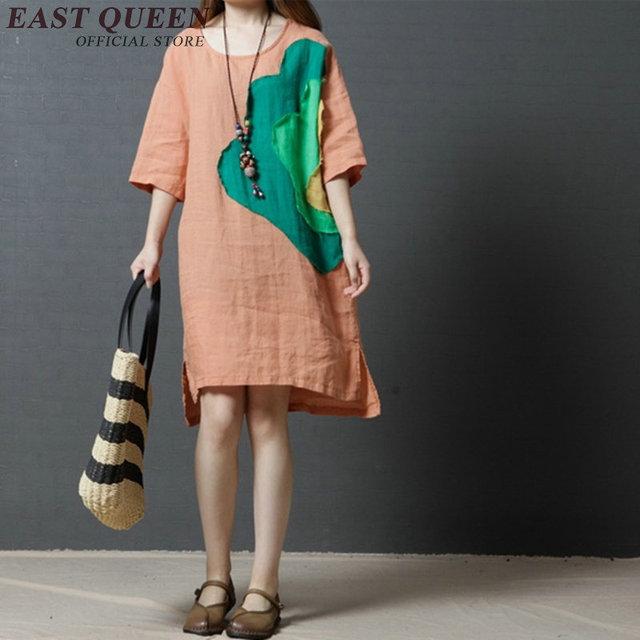 negozio online 12d3b 770df US $23.65 45% di SCONTO Donna estate 2018 abiti abiti di lino per le donne  intorno al collo di arte orientale Cinese deco vestito di cotone e lino ...
