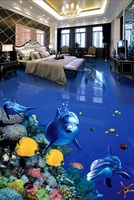 Custom photo 3d flooring mural self - adhesion wall sticker Fish dolphin painting 3d room murals wallpaper