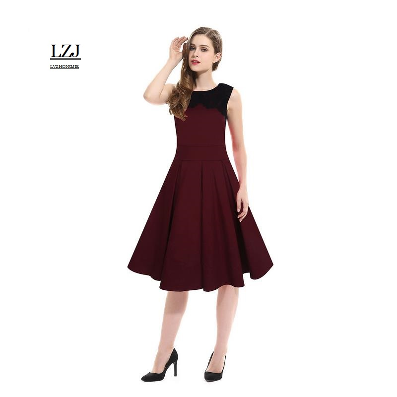 LZJ 2017 Hot Summer Women S Dress Women O Collar Lace Decorative Solid Color Stitching Dress