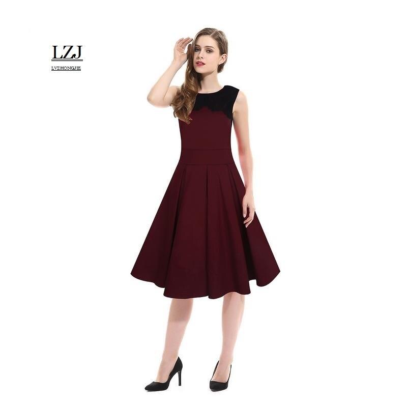 LZJ 2017 Hot Summer Women S Dress Women O Collar Lace Decorative Solid Color Stitching Dress