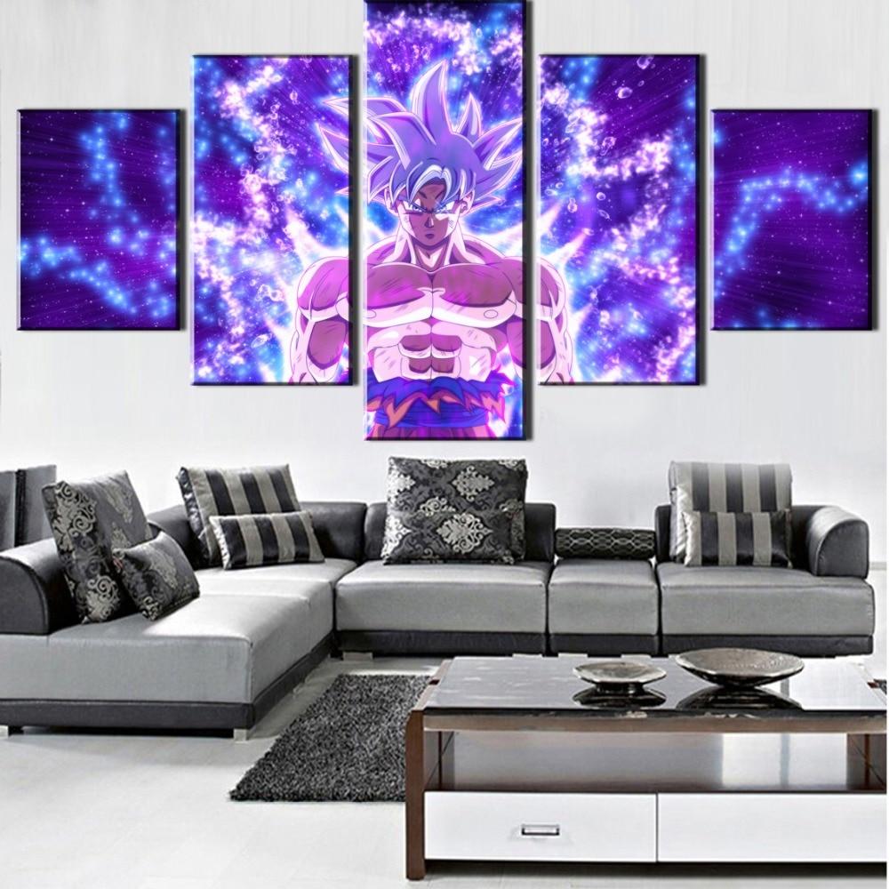 Hot Sell Canvas Art Anime 5 Pieces Dragon Ball Super Goku Wall Art Painting Modern Home Decor HD Print Modular Picture Artwork