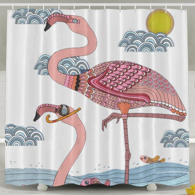 Eco Friendly Animals Funny Shower Curtains,Flamingo Shower Curtain Fabric  With Hooks