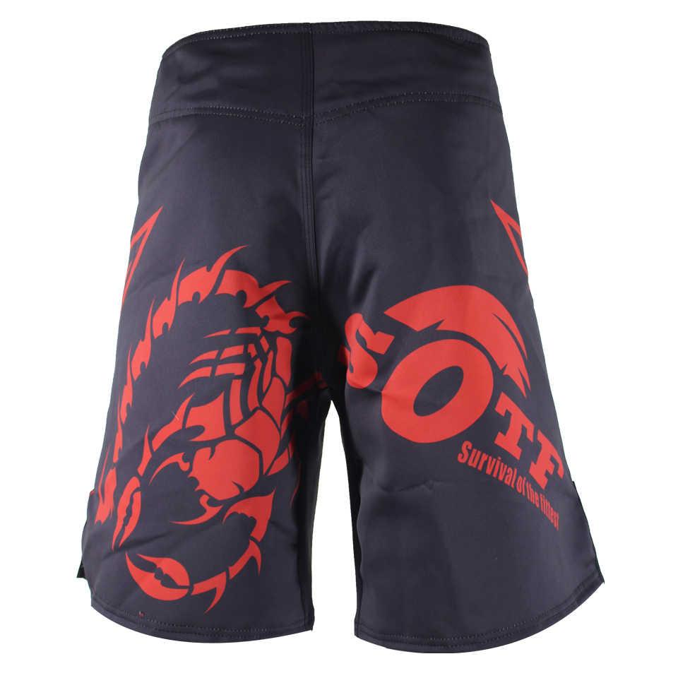 Peregangan Lembut Merah MMA Celana Pendek Muay Thai Boxe Celana Pendek Pertempuran Tendangan Pria Melawan Tinju Celana Pendek