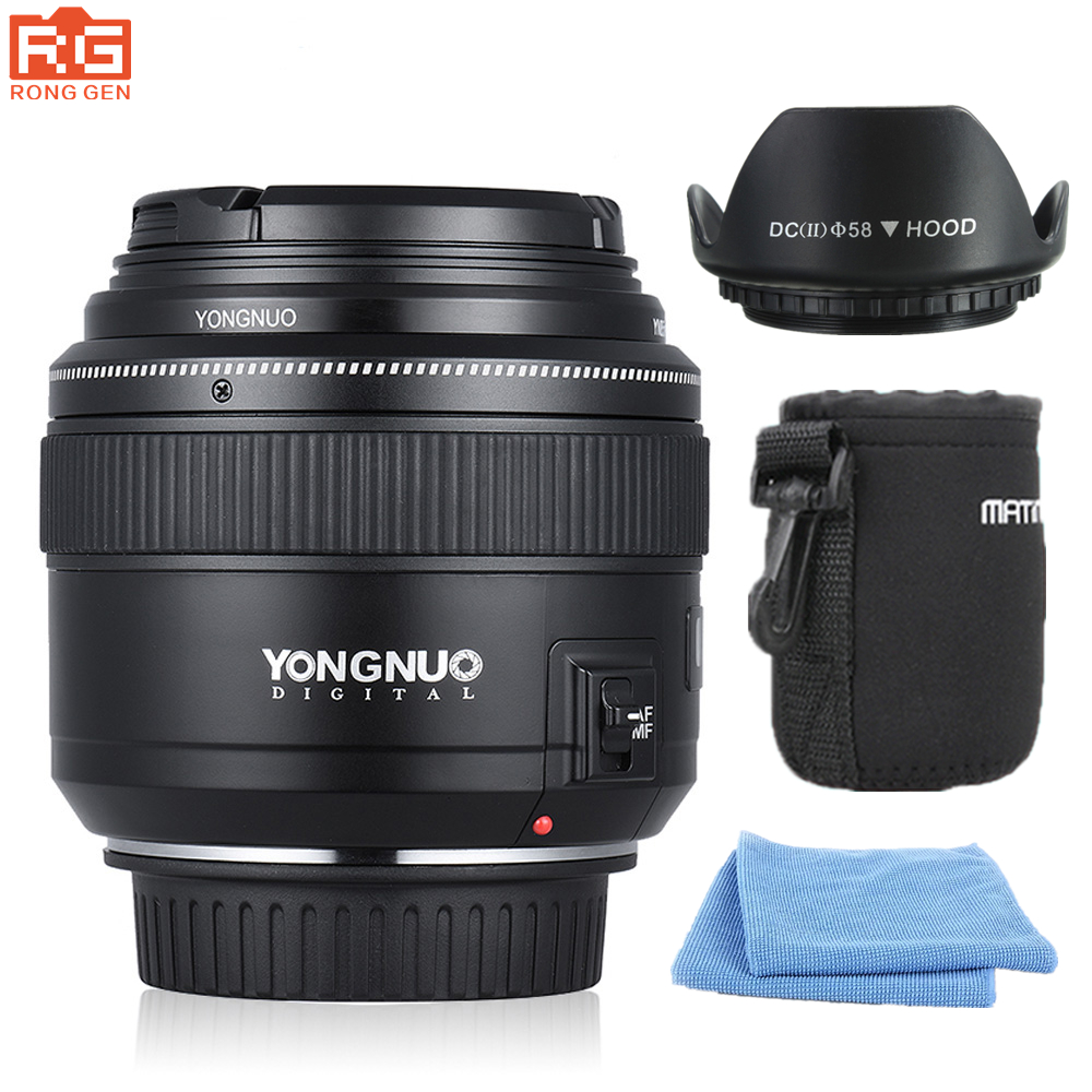 YONGNUO YN85mm f1.8 AF/MF Standard Mid-Range Telephoto Lenses Focal Imaging Camera lens for Canon EF Mount EOS Cameras micro camera compact telephoto camera bag black olive
