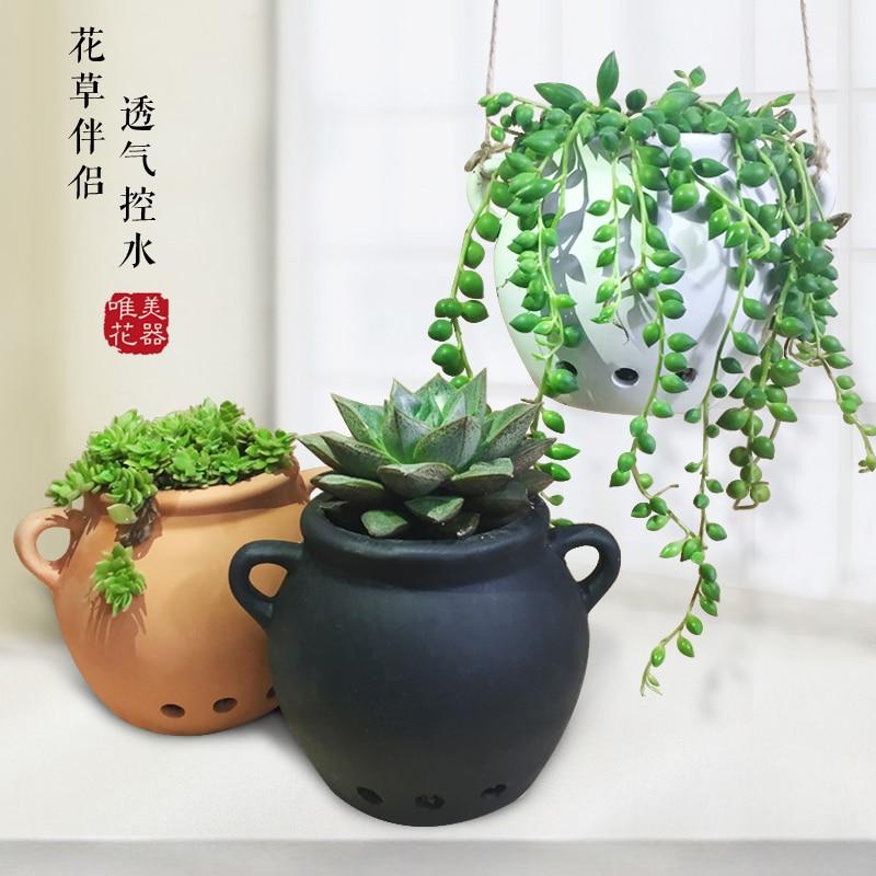 Kreativa Keramiska Svarta Vit Terrakotta Dubbelörs Succulenter Flaskiga Växter Hängande POTS Mini Hem / Trädgård / Kontorsdekoration